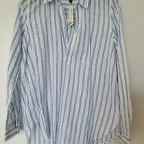 New Cotton Striped Shirt From h&m Size 8 White and Blue Long Sleeved Photo