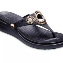 New Crocs Black/rose Gold Womens Sanrah Embellished Diamante Wedge Flip Shoes W5 Photo