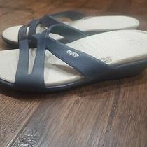 New Crocs Blue 3 Strap Wedge Sandal Women's Sz 10 W Photo