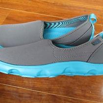 New Crocs Duet Busy Day Skimmer Shoes Womens Sz 8m Graphite Grey Turquoise 50. Photo