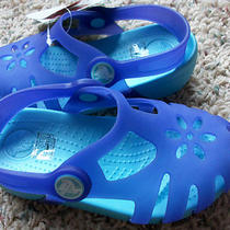 New Crocs Everleigh Sandals Girls 3 Ultraviolet/ Aqua Free Ship Photo