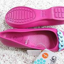 New Crocs Gianna Link Berry Shoes Womens 8 Ballerina  Flats Berry/blu Free Ship Photo