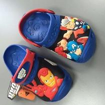 New Crocs Marvel Super Hero Squad Clogs Blue Graphic Size 8/9 Toddler Nwt Photo