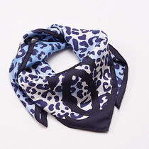 New Current Season 330 Cartier Blue Panther and Butterfly Motif Silk Scarf Photo