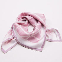 New Current Season 330 Cartier Pink and White Logo Ribbon Motif Silk Scarf Photo