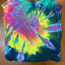 New Custom Boutique Gap Swirl Tie Dye Boxy Banded T Shirt Navy Yellow Pink S 6/7 Photo