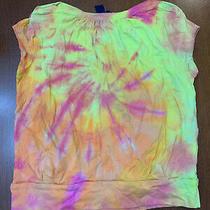 New Custom Boutique Gap Swirl Tie Dye Boxy Banded T Shirt Yellow Pink S 6/7 Photo