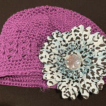 New Custom Boutique Purple Crochet Beanie Hat Aqua Black Leopard Stretch 0-9 Photo