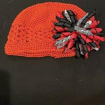 New Custom Boutique Red Crochet Beanie Hat Red Black Zebra Corker Stretch 0-9 Photo