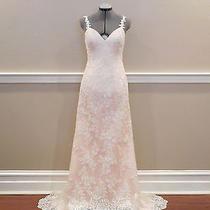 New Custom Stella York 5984 Lace/satin Wedding Dress Low Back Ivory/blush Us 8  Photo