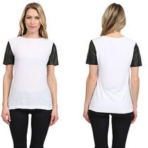 New Cut25 by Yigal Azrouel Brand Szxs Leather Sleeves Tee in Optic White 295. Photo