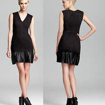 New Cut25 by Yigal Azrouel Szm  Jersey Dress With Leather Trim in Black 475.00 Photo