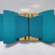 New Cute Bow Buckle Fx Leather Waist Cincher Belt Turqoise Aqua Blue Gold 1 Sz Photo