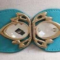 New Cute Turquoise Fx Leather Hip Waist Stretch Cinch Prism Crystal Buckle Belt Photo