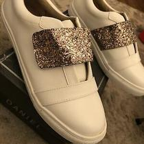 New Daniel Leather White Sneakers Glitter Size 41 10 Womens Rose Gold London Photo