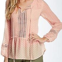 New Daniel Rainn Blush Pink Medium M Junior Crochet-Bib Blouse 68- 288 Deal Photo