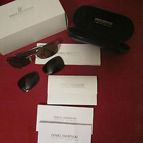 New Daniel Swarovski Msrp 622 S614 6053 23k Gold Plated Sunglasses Uva/uvb Photo
