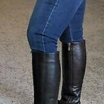 New Dark Brown Faux Leather Zip Up Knee High Riding Boots W/ Rose Gold Spurs 6 M Photo