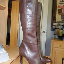 New Dark Brown Leather High Heel Tall Boots by via Spiga Sz 10 M Photo