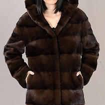 New Demi Buff Hooded Brown Natural Mink Fur Coat Jacket Parka With Pelts Across Photo