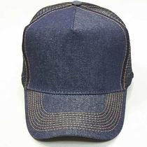 New Denim Trucker Hat Ball Cap Yellow Stitch Sun Visor Blank Travel Bike Gift Photo