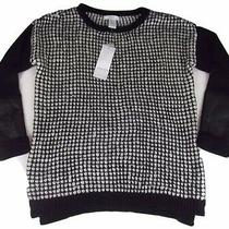 New Design History Sweater Small Black White Fuax Leather Sleeve Photo