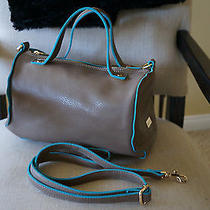 New Designer Deux Lux Lightweight Taupe & Blue Duffel Satchel Handbag Purse  Photo