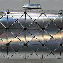 New Designer Inspired Glossy Silver Prism Pattern Minaudiere Case Purse Clutch Photo