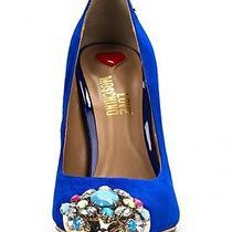 New Designer Love Moschino Rare Suede Something Blue Wedding Bridal Shoes Sz 4 Photo