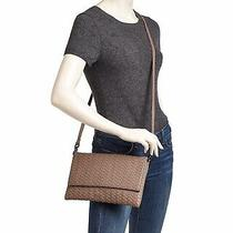 New Deux Lux Baxter Woven Taupe Tea Rose Faux Leather Crossbody Clutch 7.5
