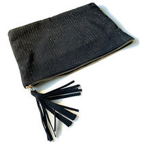New Deux Lux Beaded Vegan Leather Clutch Pouch Ipad Tassel Bag Black Shimmer Zip Photo