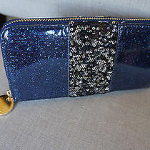 New Deux Lux Black & Silver Flip Sequin Large Shimmer Zip Around Wallet Clutch  Photo