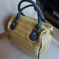 New Deux Lux  Large Luca Lime Striped Duffel Satchel Handbag Purse Anthropologie Photo