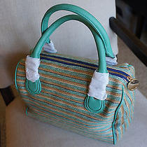 New Deux Lux  Large Luca Mint Striped Duffel Satchel Handbag Purse Anthropologie Photo