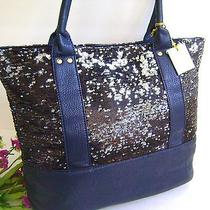 New Deux Lux Sequins Blue Black Shopper Shoulder Handbag Tote W/ Dust Bag Photo