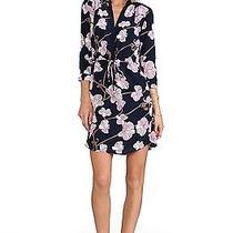 New Diane Von Furstenberg Freya Silk Shirt Dress in Simple Orchid Navy Print  12 Photo