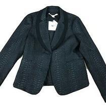 New Diane Von Furstenberg Solid Black Snake Skin Blazer Size 8  Photo