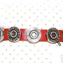 New -Diesel- Men's Red Leather Bracelet 100% Genuine  Photo