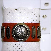New -Diesel-Only the Brave-2 Orange Leather Bracelet 100% Genuine  Photo