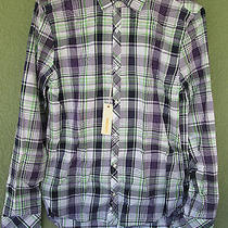 New Diesel Purple Green Plaid 100% Cotton Xl Mens Casual L/s Button Down Shirt Photo
