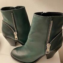 New Diesel Sz 7 Distressed Green Leather Zipper Detail Block Heel Ankle Boots 37 Photo