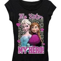New Disney Frozen Anna/elsa Black Girls Tee Shirt Sz Xl 16 My Sister My Hero Photo