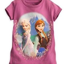New Disney Store Elsa Anna Purple Sparkle Sisters Tee Shirt Girls 5/6 Photo