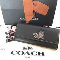 New Disney X Coach Mickey Turnlock Wallet 65793 Limited Edition (Black) Photo