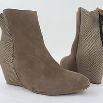 New/display Women's Hudson Taupe Suede Wedge Ankle Booties Size 39 Euro Photo
