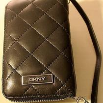 New Dkny Black Leather Quilted Iphone Case/clutch/wallet Photo