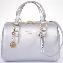 New Dkny Donna Karan Silver Saffiano Leather Crossbody Satchel Purse Handbag Photo