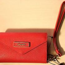New Dkny Red Saffiano Leather Iphone Case/clutch/wallet Photo