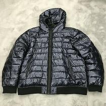 New Dkny Shiny Hooded Water Resistant Puffer Jacket Mens Size Medium Navy Blue Photo