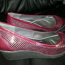 New Dkny Women's Burgundy Wedges Shoes Size 8.5 Photo